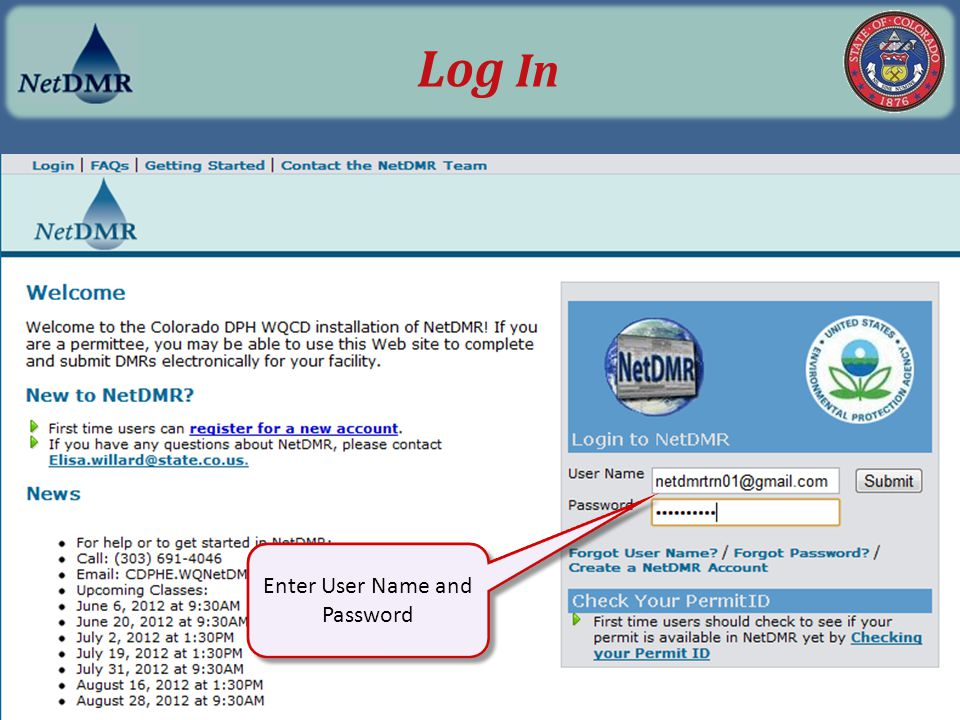 Enter User Name and Password Log In