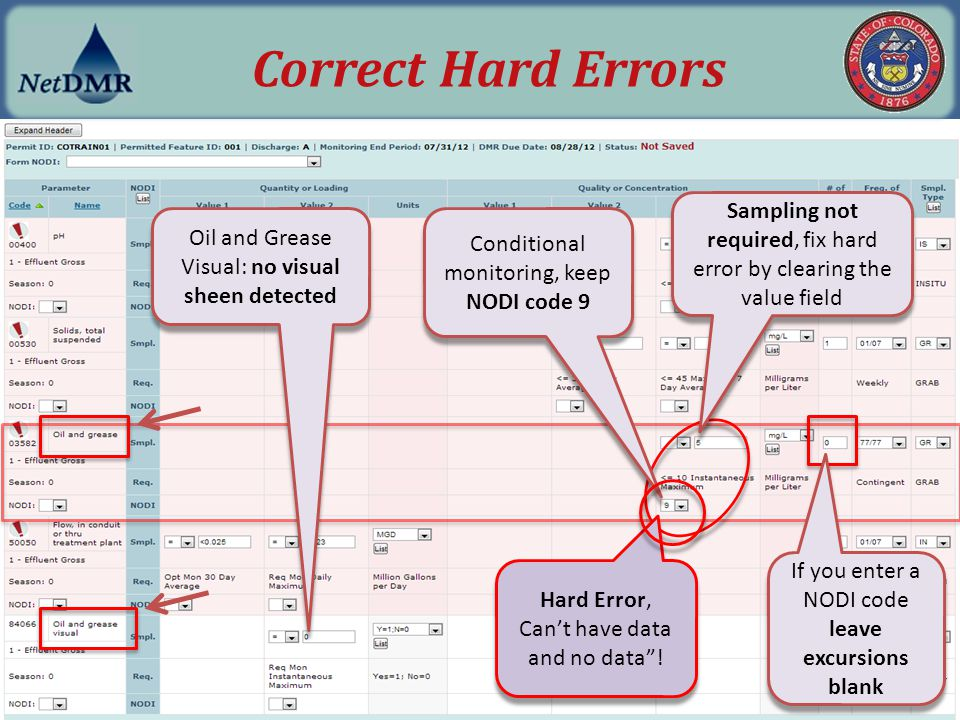 "Hard Error, Can't have data and no data""! Hard Error, Can't have data and no data""! Oil and Grease Visual: no visual sheen detected Conditional monito"
