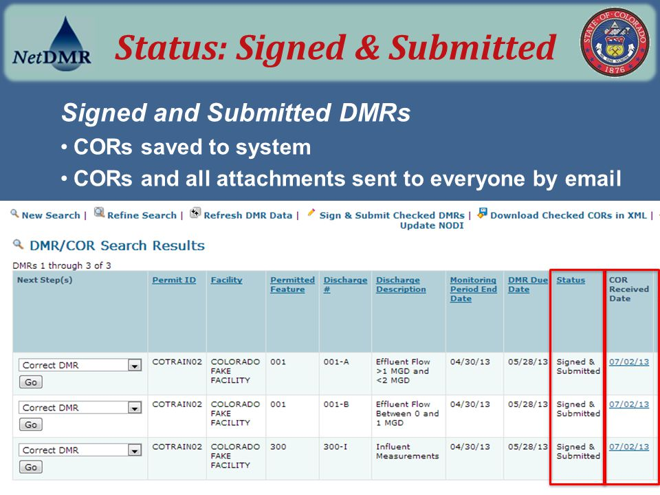 Signed and Submitted DMRs CORs saved to system CORs and all attachments sent to everyone by email Status: Signed & Submitted