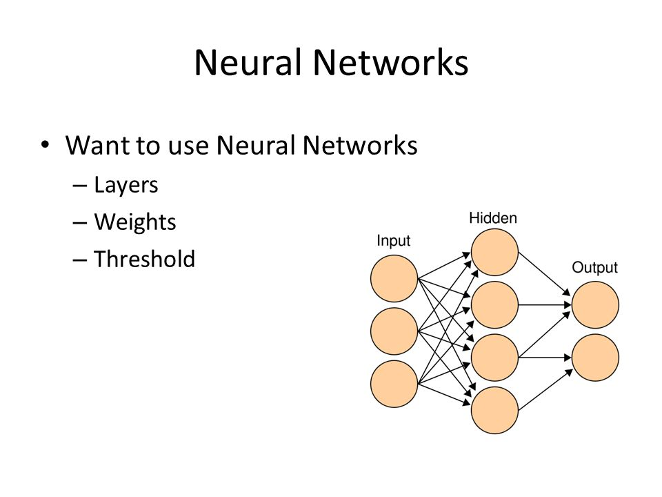 Neural Networks Want to use Neural Networks – Layers – Weights – Threshold