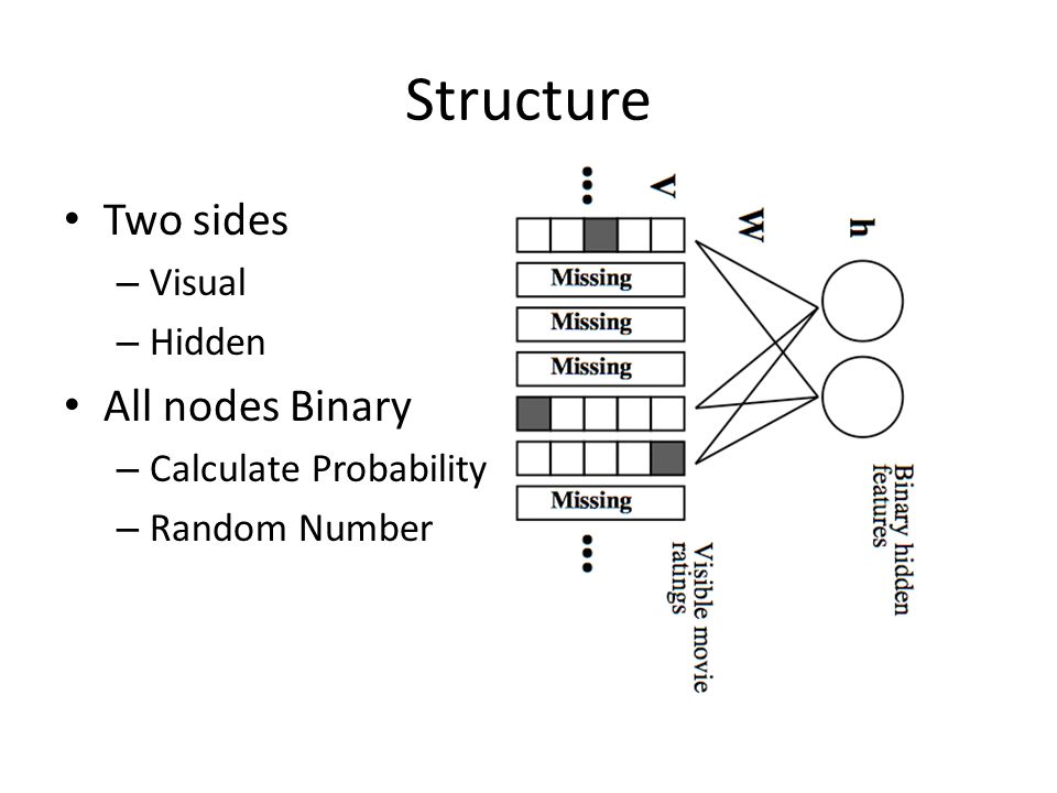 Structure Two sides – Visual – Hidden All nodes Binary – Calculate Probability – Random Number