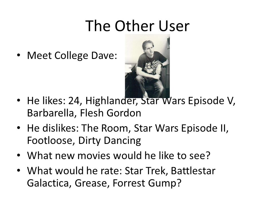 The Other User Meet College Dave: He likes: 24, Highlander, Star Wars Episode V, Barbarella, Flesh Gordon He dislikes: The Room, Star Wars Episode II,