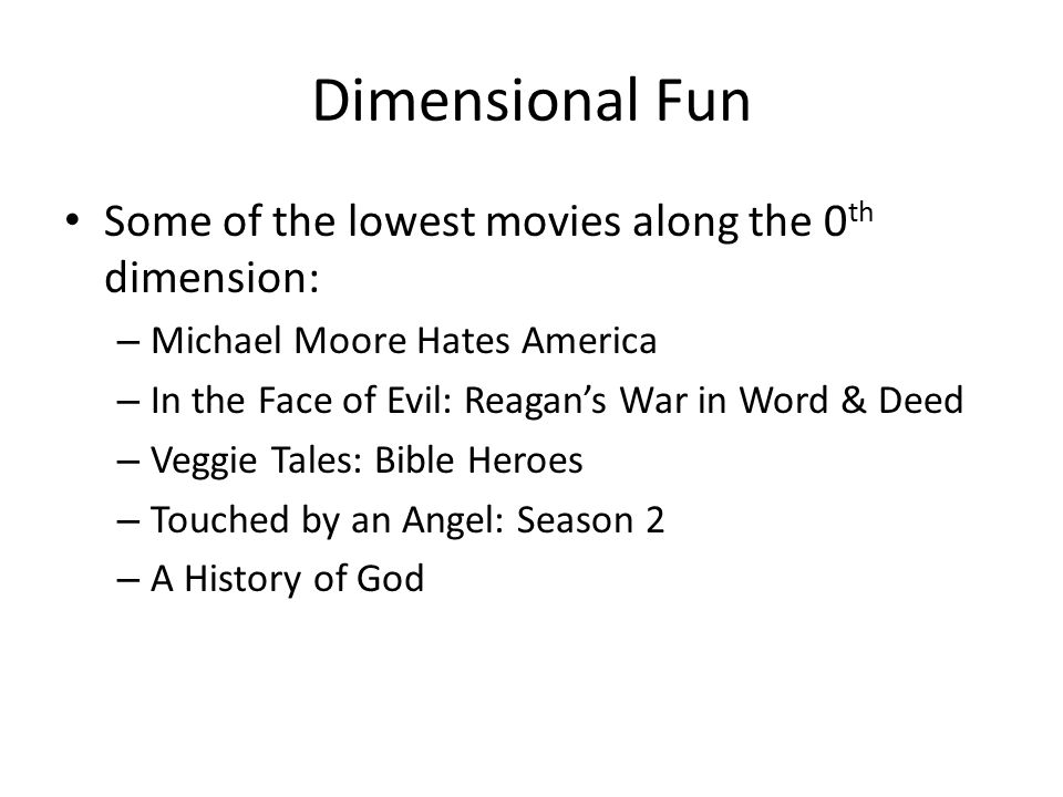 Dimensional Fun Some of the lowest movies along the 0 th dimension: – Michael Moore Hates America – In the Face of Evil: Reagan's War in Word & Deed – Veggie Tales: Bible Heroes – Touched by an Angel: Season 2 – A History of God