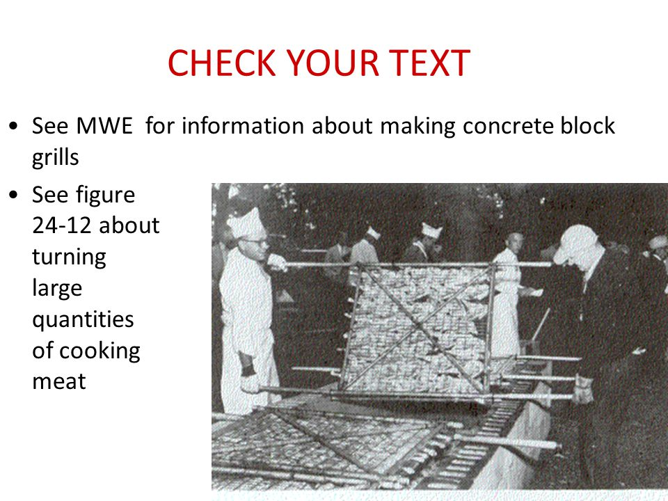 CHECK YOUR TEXT See MWE for information about making concrete block grills See figure 24-12 about turning large quantities of cooking meat