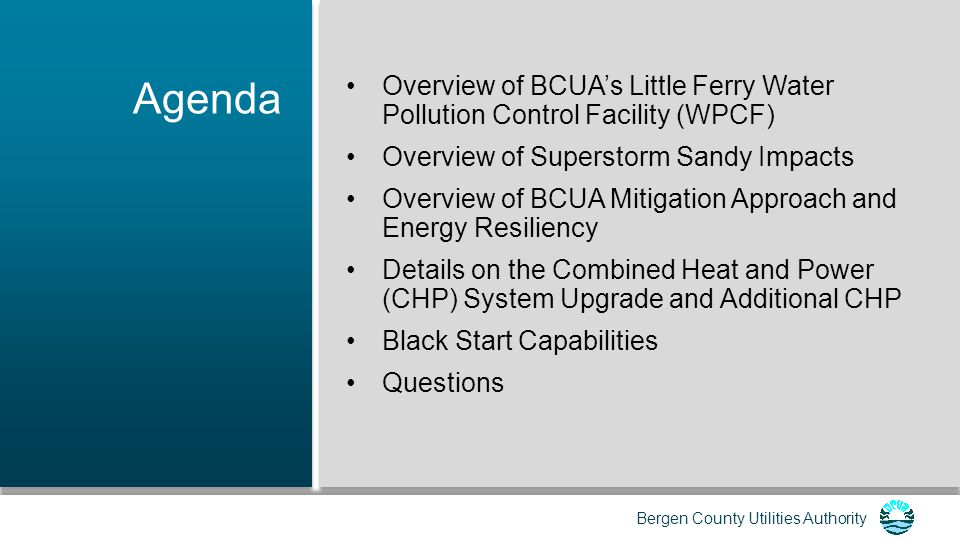 Bergen County Utilities Authority Power Supply Mitigation Goal: Maintain wastewater service at all times, including outage/fluctuations in the PSE&G electrical power grid.