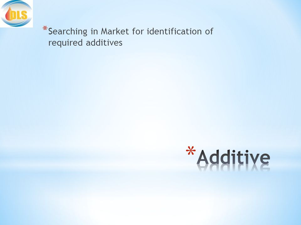 * Searching in Market for identification of required additives