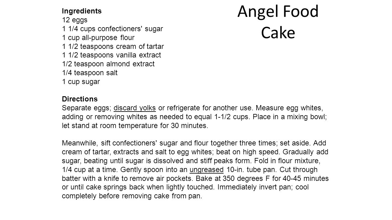 Angel Food Cake Ingredients 12 eggs 1 1/4 cups confectioners sugar 1 cup all-purpose flour 1 1/2 teaspoons cream of tartar 1 1/2 teaspoons vanilla extract 1/2 teaspoon almond extract 1/4 teaspoon salt 1 cup sugar Directions Separate eggs; discard yolks or refrigerate for another use.