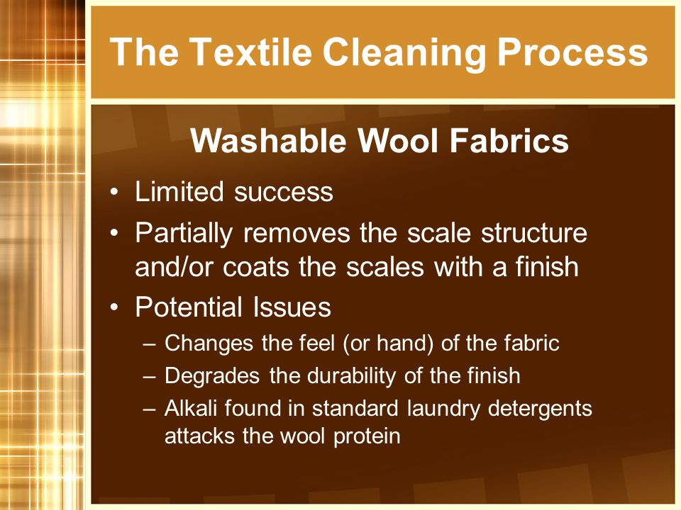 Limited success Partially removes the scale structure and/or coats the scales with a finish Potential Issues –Changes the feel (or hand) of the fabric