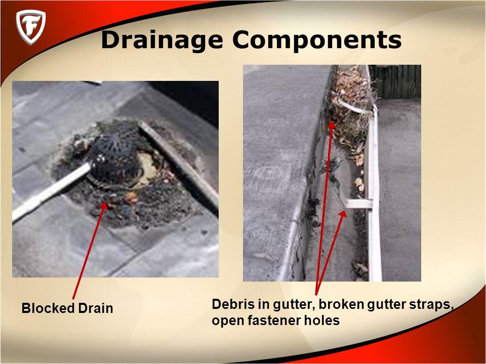 Drainage Components Blocked Drain Debris in gutter, broken gutter straps, open fastener holes