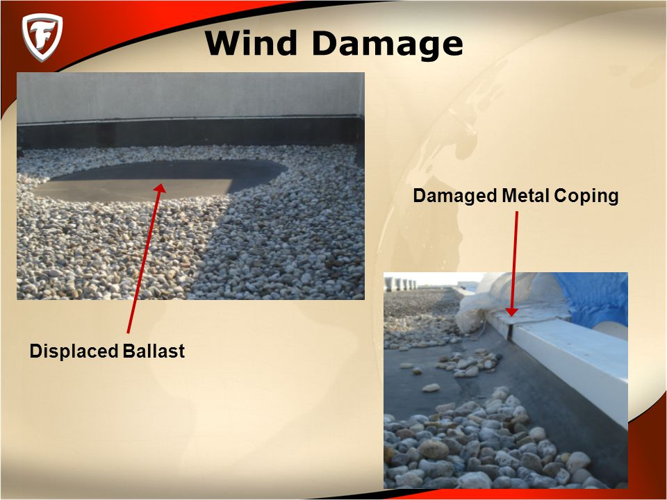 Wind Damage Displaced Ballast Damaged Metal Coping