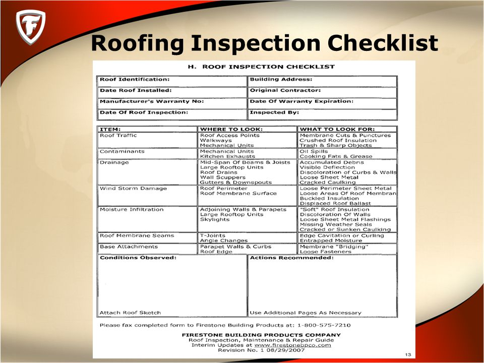Roofing Inspection Checklist