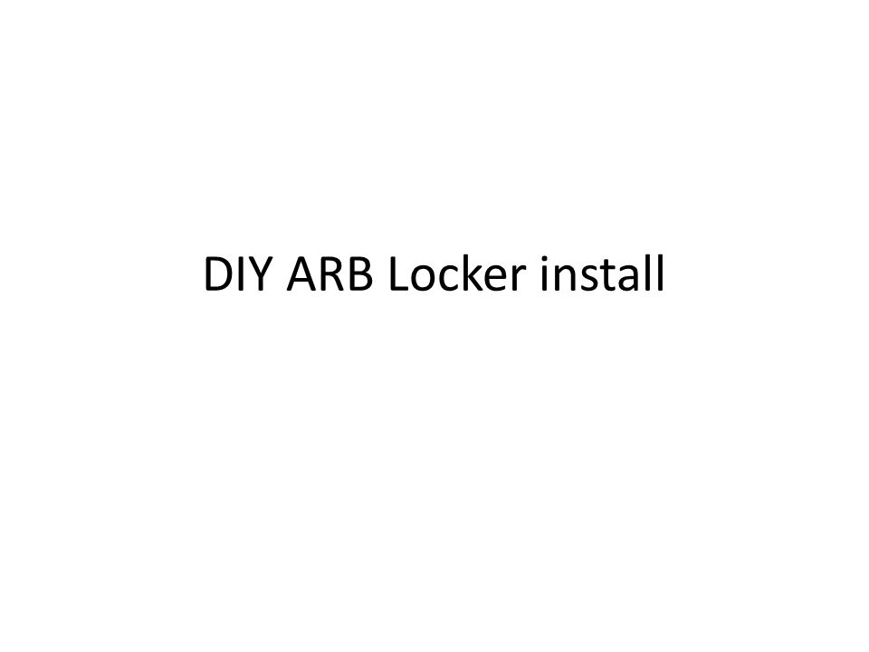 DIY ARB Locker install