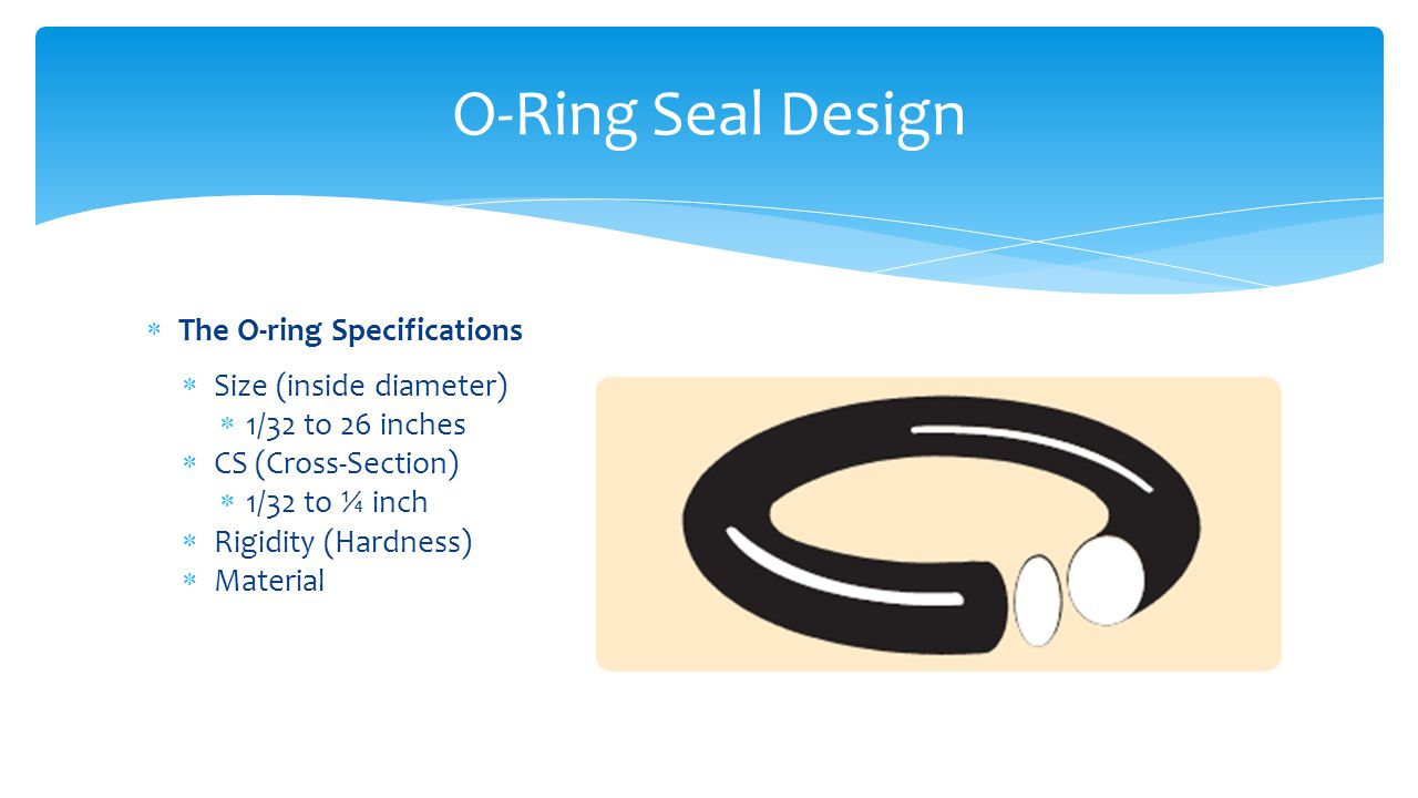  The O-ring Specifications  Size (inside diameter)  1/32 to 26 inches  CS (Cross-Section)  1/32 to ¼ inch  Rigidity (Hardness)  Material O-Ring