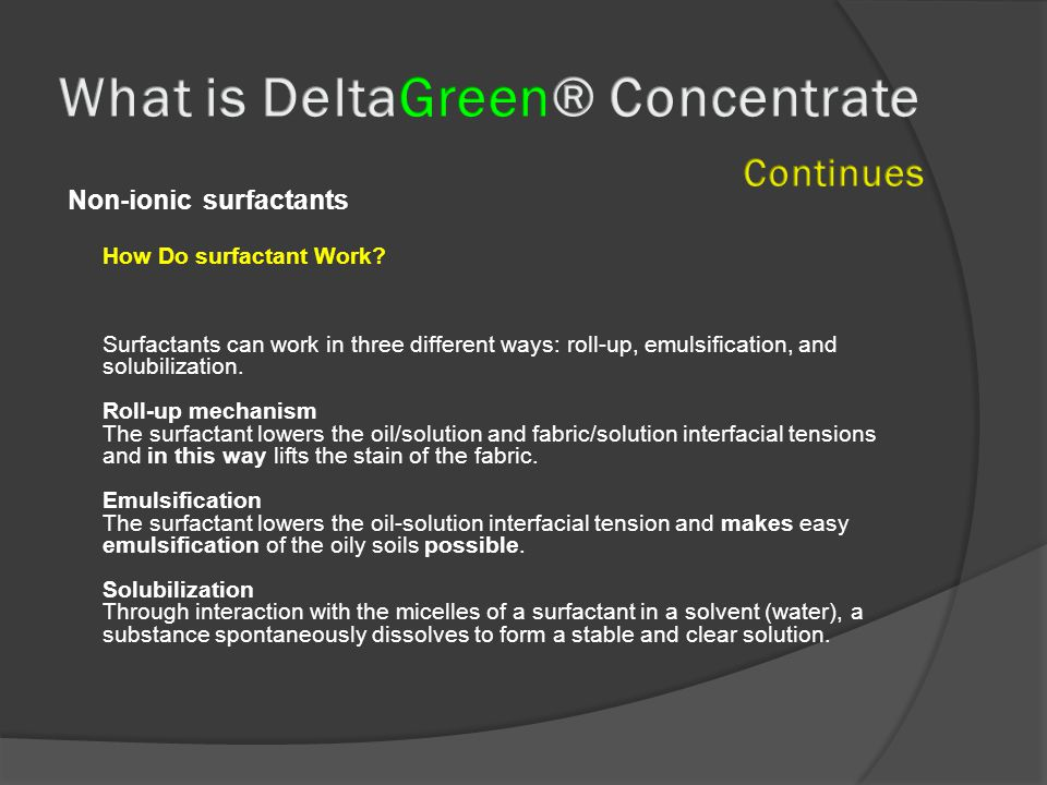 Non-ionic surfactants How Do surfactant Work.