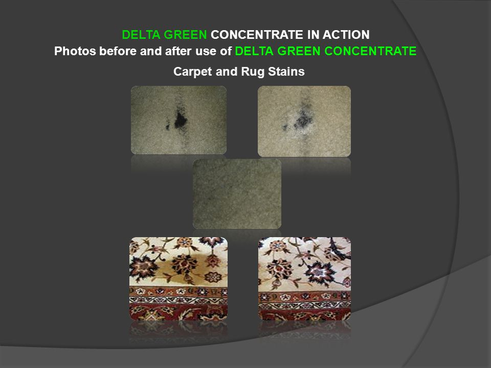 Photos before and after use of DELTA GREEN CONCENTRATE DELTA GREEN CONCENTRATE IN ACTION Carpet and Rug Stains