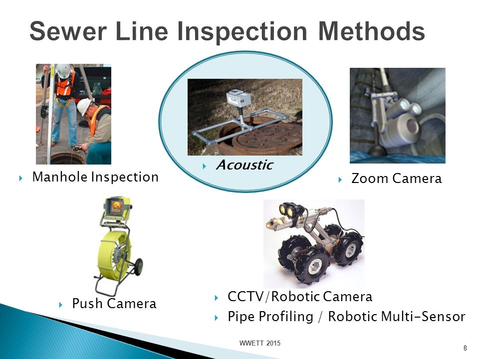 8  CCTV/Robotic Camera  Pipe Profiling / Robotic Multi-Sensor  Push Camera  Zoom Camera  Acoustic  Manhole Inspection