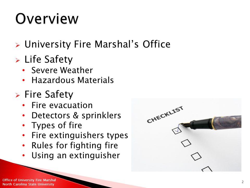 33 Office of University Fire Marshal North Carolina State University
