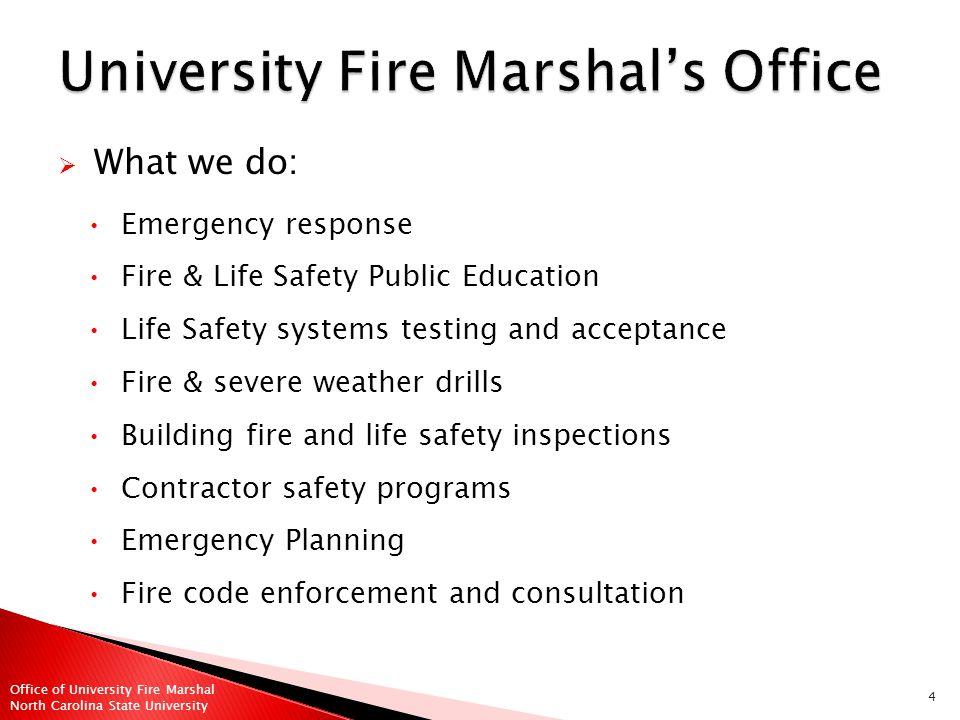 35 Office of University Fire Marshal North Carolina State University