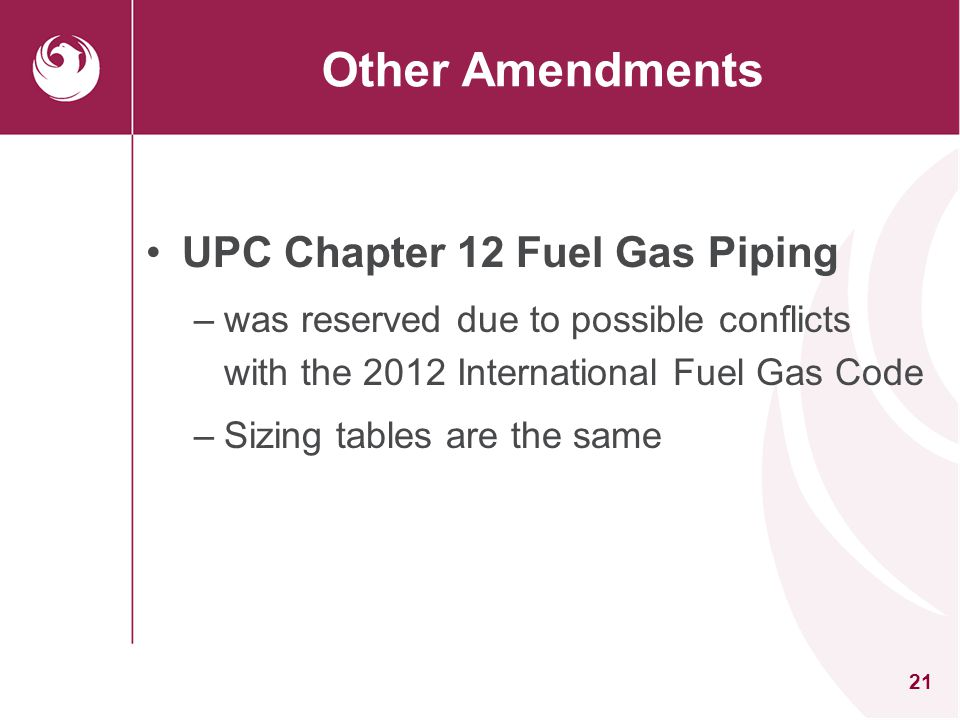 21 Other Amendments UPC Chapter 12 Fuel Gas Piping –was reserved due to possible conflicts with the 2012 International Fuel Gas Code –Sizing tables ar
