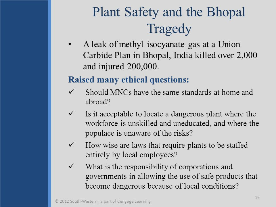 Plant Safety and the Bhopal Tragedy A leak of methyl isocyanate gas at a Union Carbide Plan in Bhopal, India killed over 2,000 and injured 200,000.