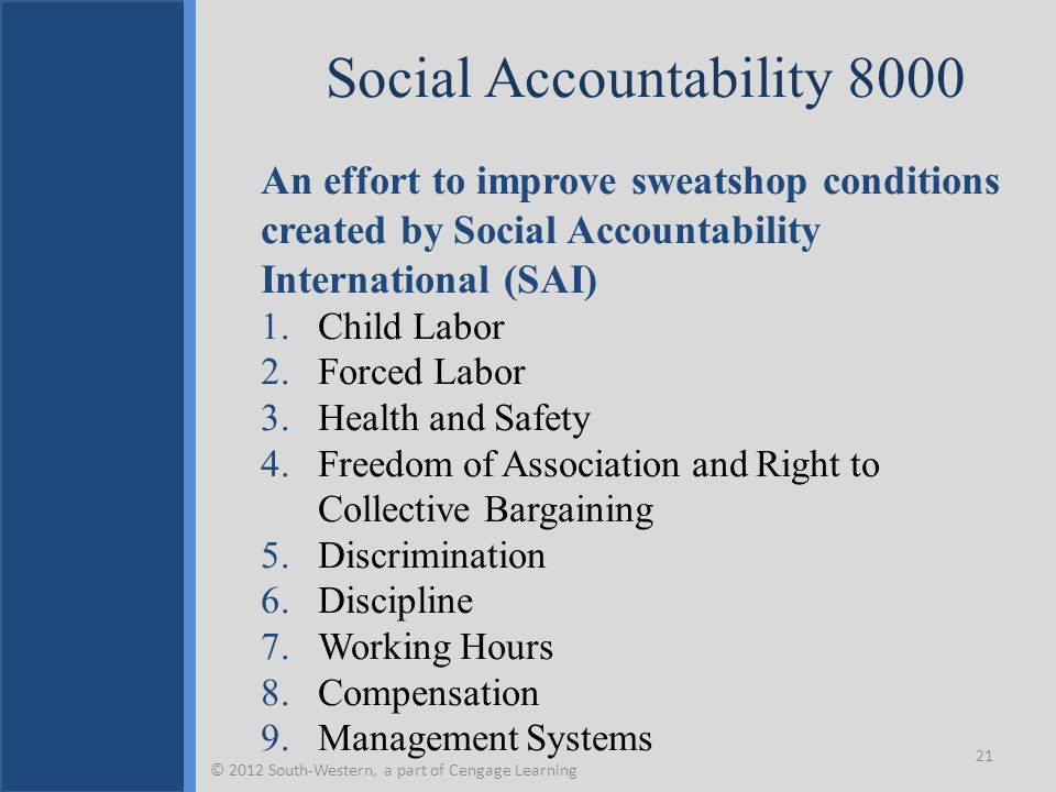 Social Accountability 8000 An effort to improve sweatshop conditions created by Social Accountability International (SAI) 1.Child Labor 2.Forced Labor 3.Health and Safety 4.Freedom of Association and Right to Collective Bargaining 5.Discrimination 6.Discipline 7.Working Hours 8.Compensation 9.Management Systems 21 © 2012 South-Western, a part of Cengage Learning