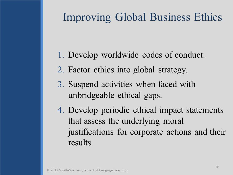 Improving Global Business Ethics 1.Develop worldwide codes of conduct.