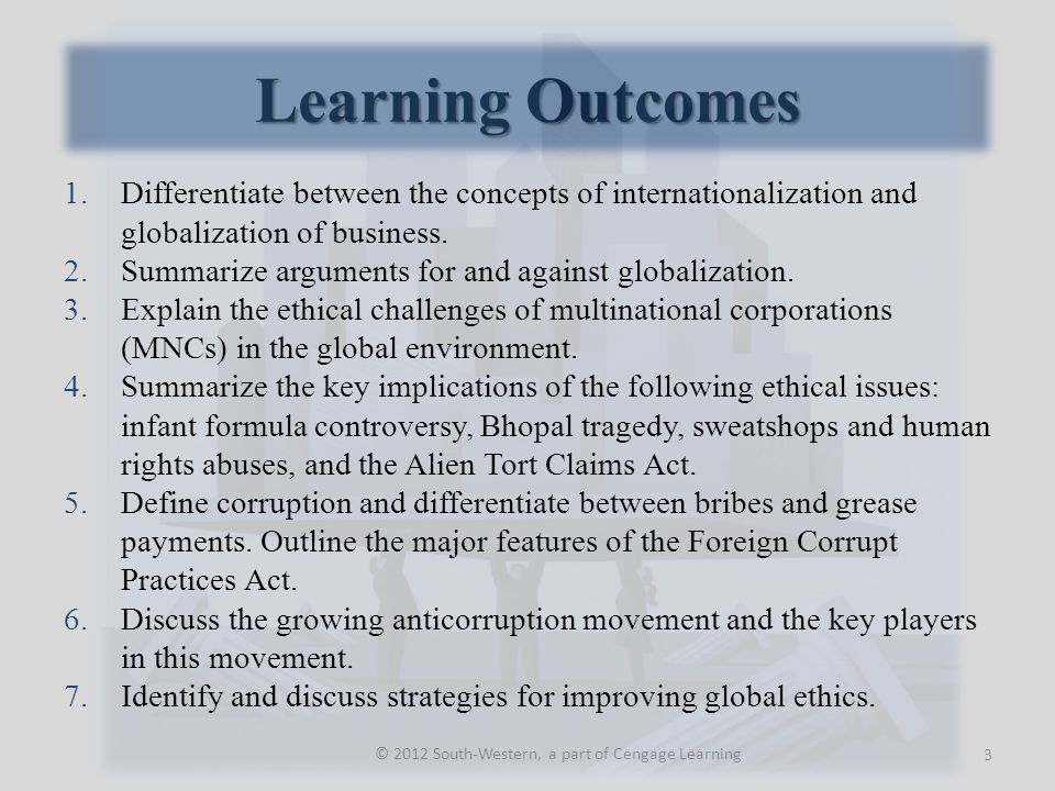 Learning Outcomes © 2012 South-Western, a part of Cengage Learning 1.Differentiate between the concepts of internationalization and globalization of business.