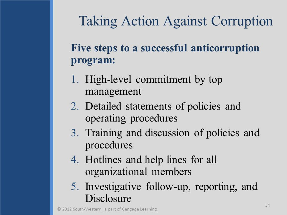 Taking Action Against Corruption Five steps to a successful anticorruption program: 1.High-level commitment by top management 2.Detailed statements of policies and operating procedures 3.Training and discussion of policies and procedures 4.Hotlines and help lines for all organizational members 5.Investigative follow-up, reporting, and Disclosure 34 © 2012 South-Western, a part of Cengage Learning
