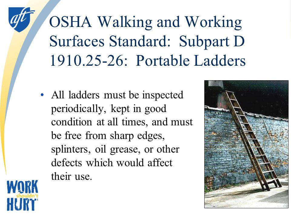 OSHA Walking and Working Surfaces Standard: Subpart D 1910.25-26: Portable Ladders All ladders must be inspected periodically, kept in good condition at all times, and must be free from sharp edges, splinters, oil grease, or other defects which would affect their use.