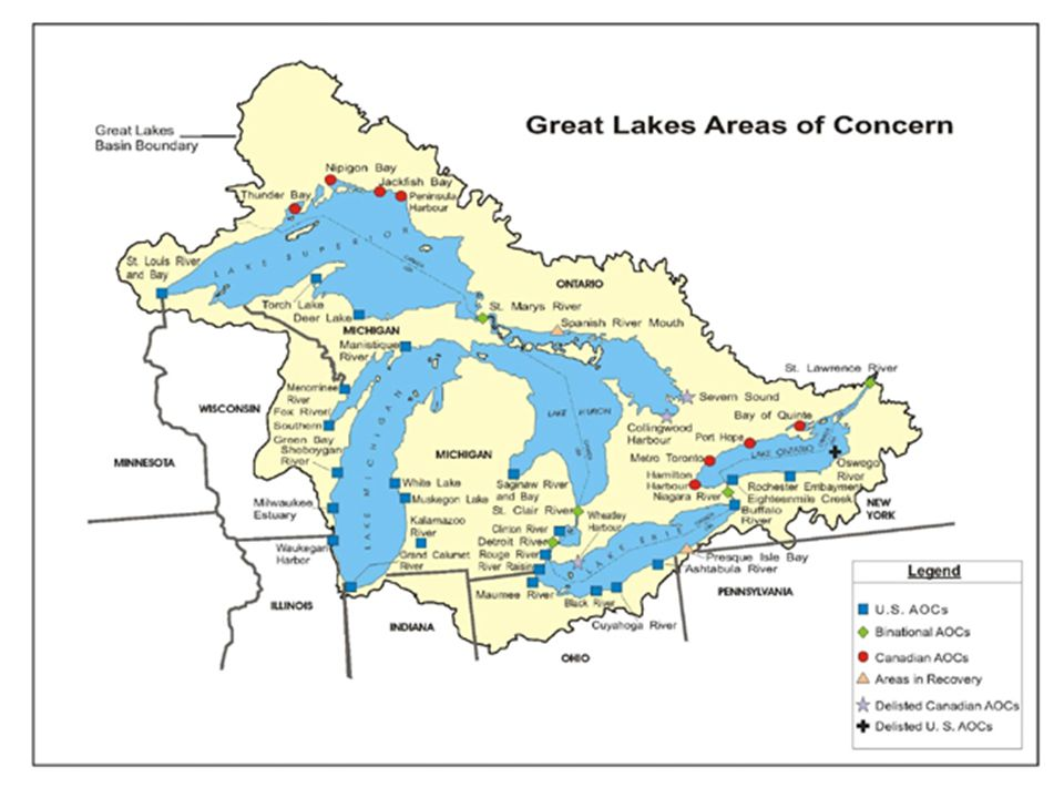 Cuyahoga River AOC Lake Erie Lake Huron Black River AOC Maumee River AOC River Raisin AOC St.