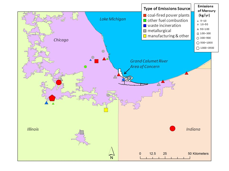 Chicago IllinoisIndiana Grand Calumet River Area of Concern Type of Emissions Source coal-fired power plants other fuel combustion waste incineration metallurgical manufacturing & other Lake Michigan Emissions of Reactive Gaseous Mercury (kg/yr) 10-50 50-100 100–300 5-10 300–500 500–1000 1000–3500 < 5