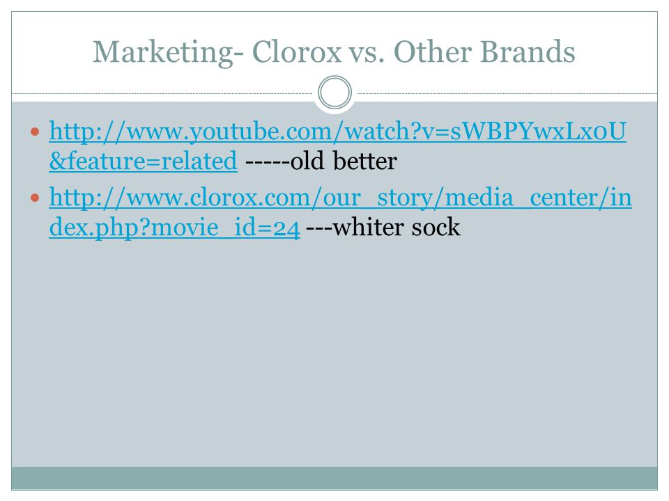 Marketing- Clorox vs.
