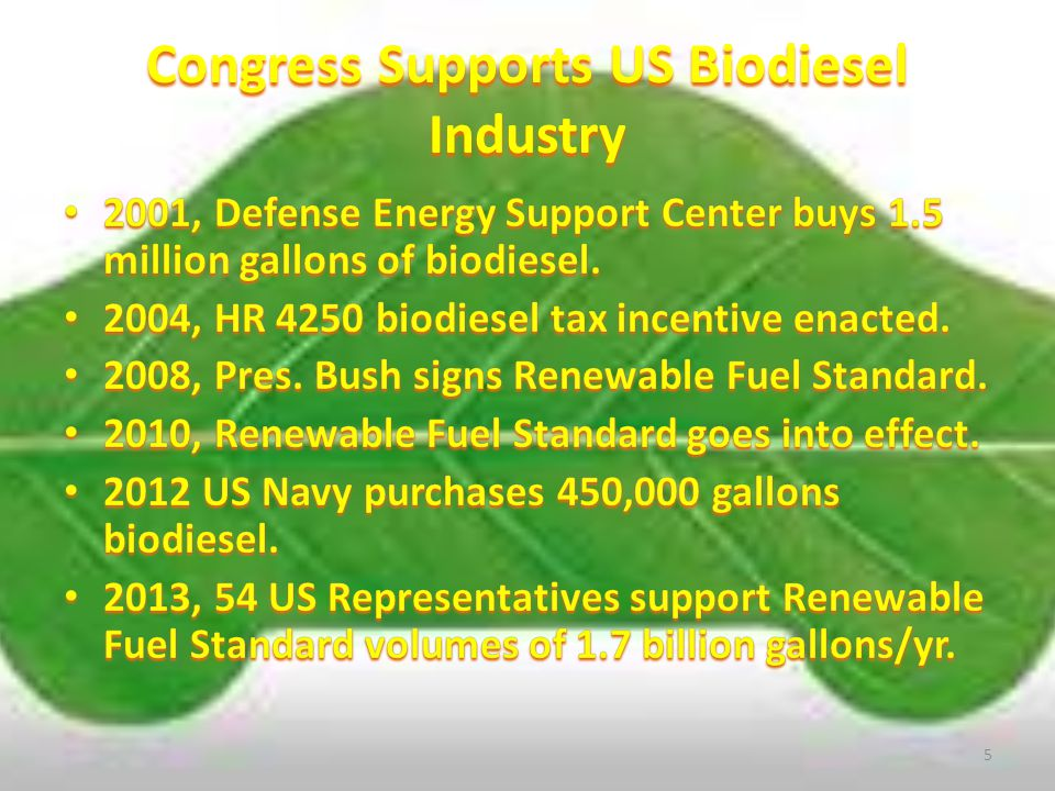 Congress/Presidential Support 1990, National Biodiesel Board established.1990, National Biodiesel Board established.