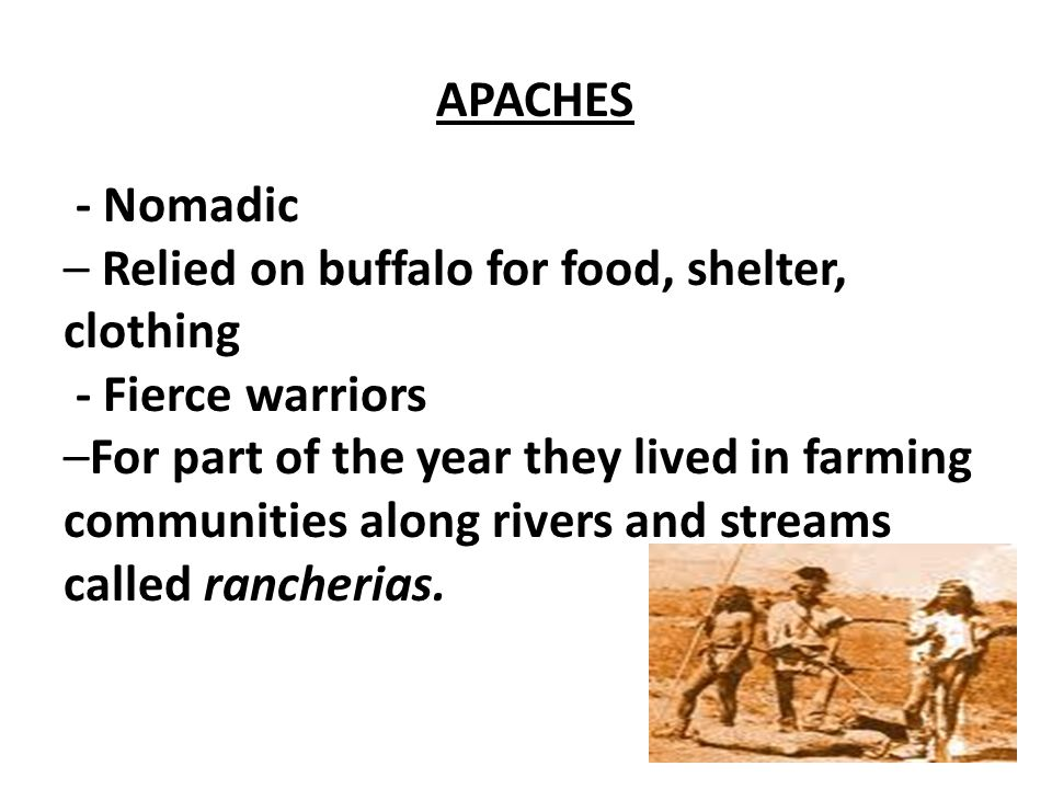 APACHES - Nomadic – Relied on buffalo for food, shelter, clothing - Fierce warriors –For part of the year they lived in farming communities along rive