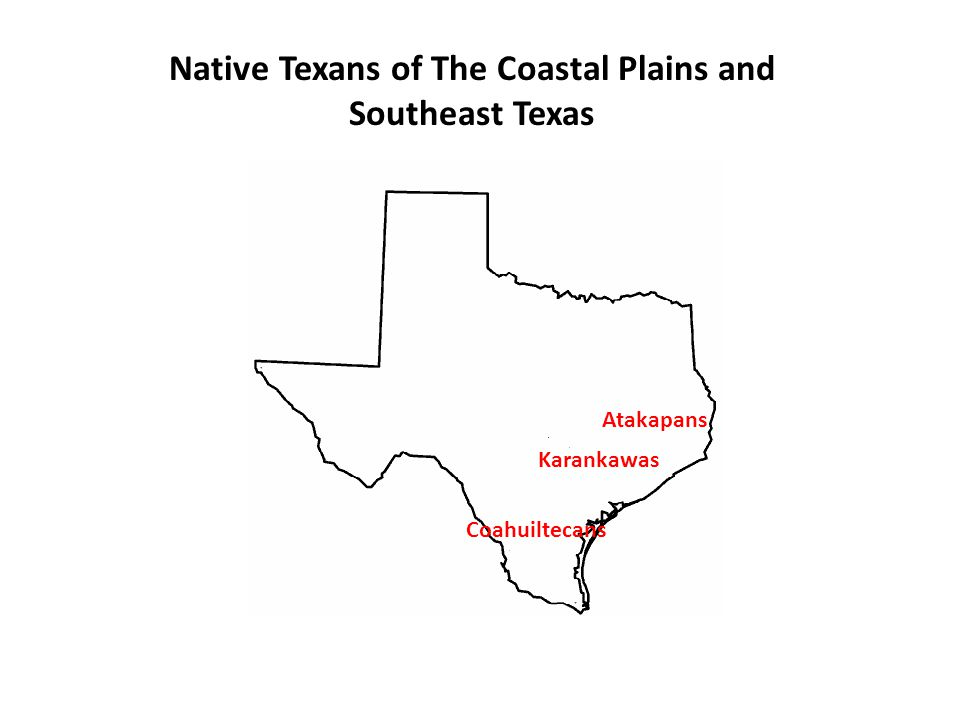 KARANKAWAS - Located in the Gulf Coast sub region of the Coastal plains - Nomadic – Fished using dugout canoes – Hunted small game using bows and arrows – Women did most the hard work.