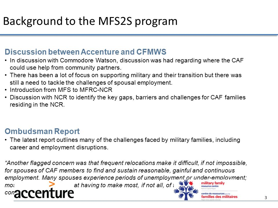  To develop core skills for military family member that will improve employment outcomes  To explore career choices that can grow and thrive in the military lifestyle and context  To investigate career and business opportunities that can be built up and be portable enough to move with postings  To develop and foster a program that will develop networks and support for military families seeking full careers  Future plans to develop the program to be offered nationally, in both official languages as well as in a virtual format.