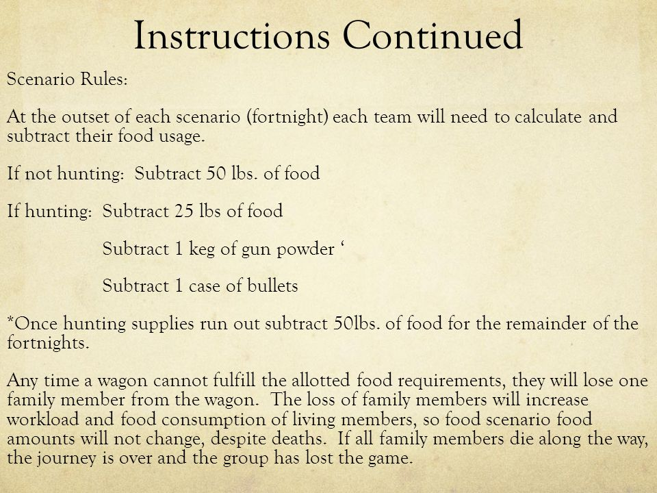 Instructions Continued Scenario Rules: At the outset of each scenario (fortnight) each team will need to calculate and subtract their food usage.