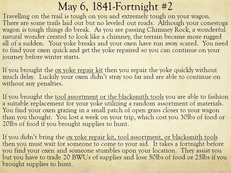 May 6, 1841-Fortnight #2 Travelling on the trail is tough on you and extremely tough on your wagon.
