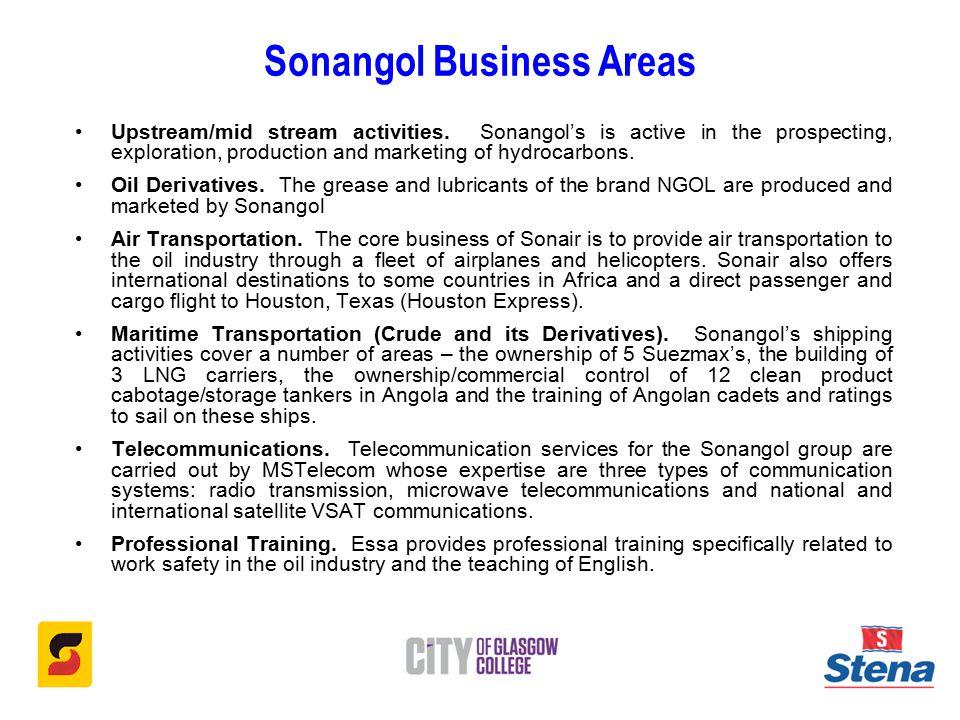 Sonangol Business Areas Upstream/mid stream activities.