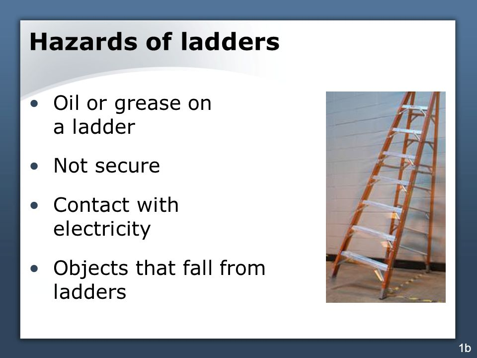 Hazards of ladders Oil or grease on a ladder Not secure Contact with electricity Objects that fall from ladders 1b