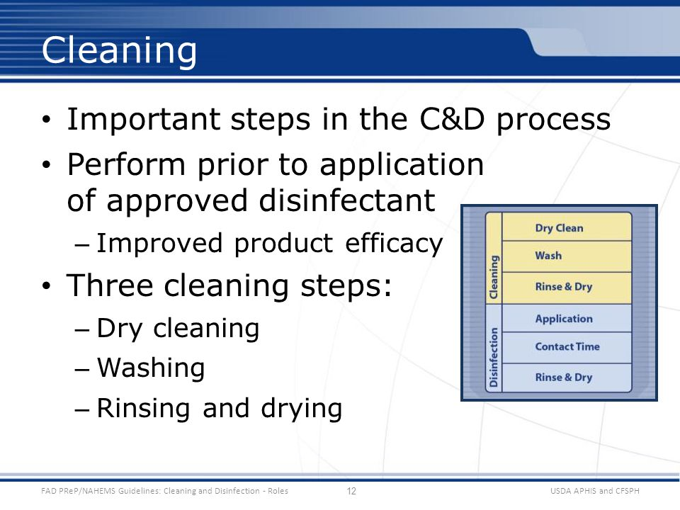 Important steps in the C&D process Perform prior to application of approved disinfectant – Improved product efficacy Three cleaning steps: – Dry cleaning – Washing – Rinsing and drying USDA APHIS and CFSPHFAD PReP/NAHEMS Guidelines: Cleaning and Disinfection - Roles Cleaning 12