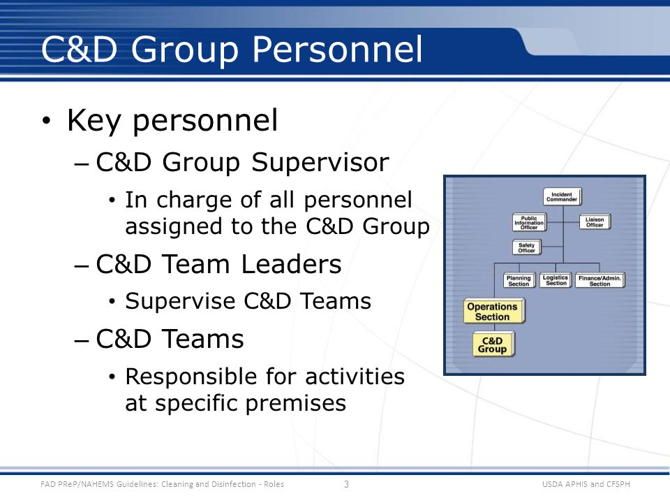 Key personnel – C&D Group Supervisor In charge of all personnel assigned to the C&D Group – C&D Team Leaders Supervise C&D Teams – C&D Teams Responsib