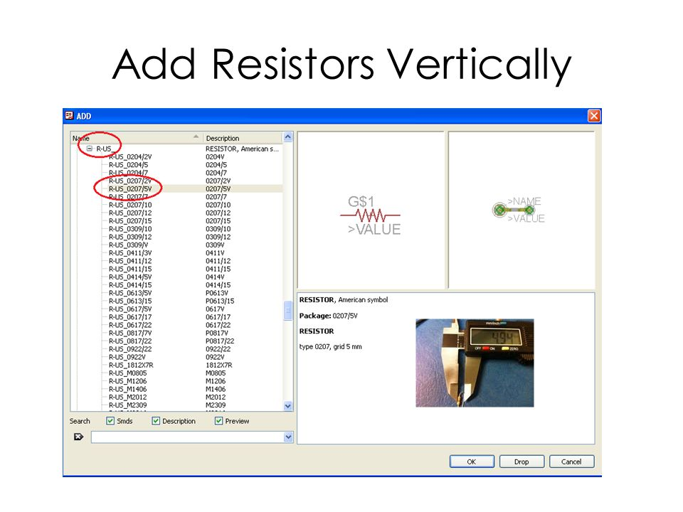 Add Resistors Vertically