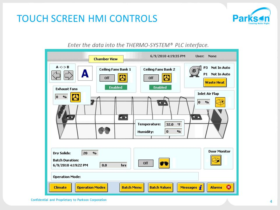 TOUCH SCREEN HMI CONTROLS Confidential and Proprietary to Parkson Corporation 4 Enter the data into the THERMO-SYSTEM® PLC interface.
