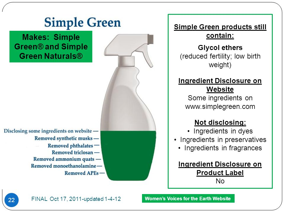 Simple Green products still contain: Glycol ethers (reduced fertility; low birth weight) Ingredient Disclosure on Website Some ingredients on www.simp