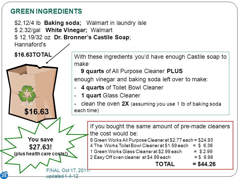 34 $2.12/4 lb Baking soda; Walmart in laundry isle $ 2.32/gal White Vinegar; Walmart $ 12.19/32 oz Dr.