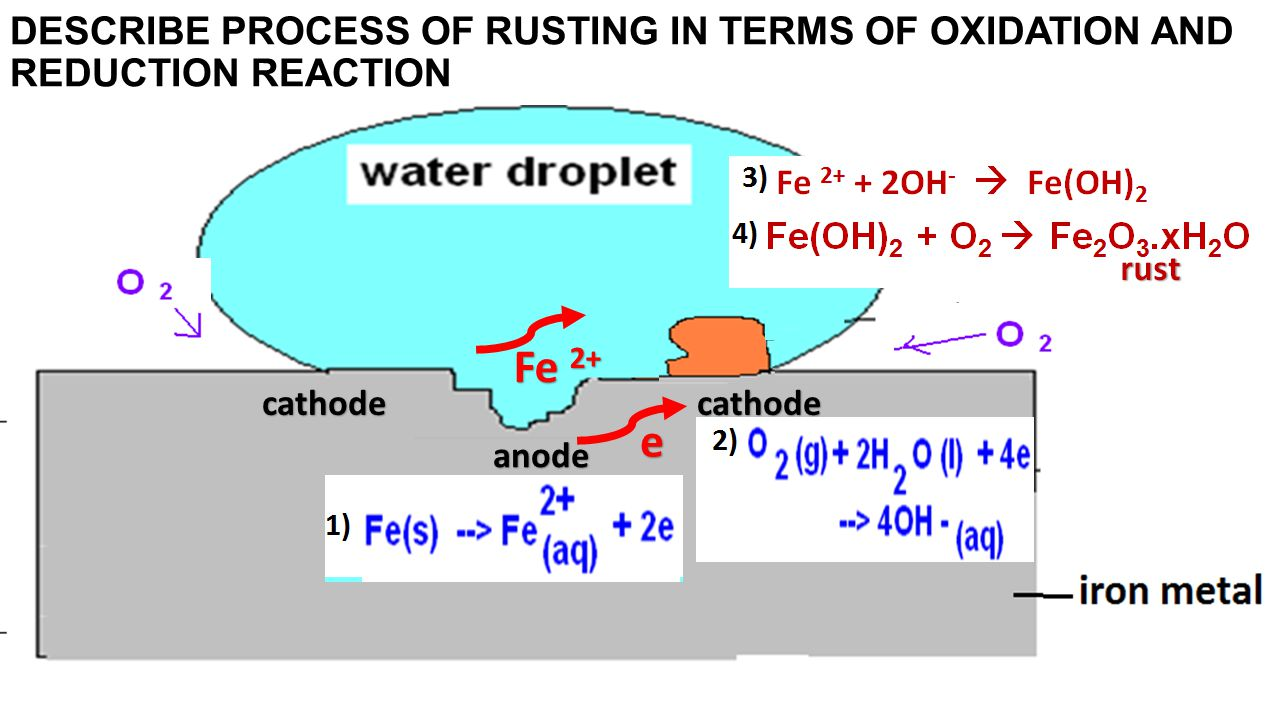 DESCRIBE PROCESS OF RUSTING IN TERMS OF OXIDATION AND REDUCTION REACTION cathodecathode anode e Fe 2+