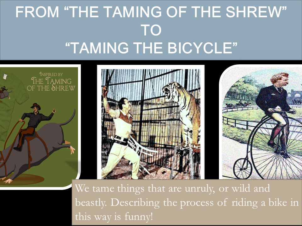 FROM THE TAMING OF THE SHREW TO TAMING THE BICYCLE We tame things that are unruly, or wild and beastly.