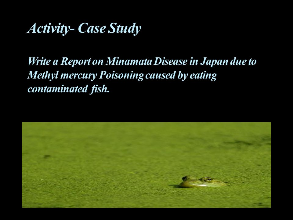 Activity- Case Study Write a Report on Minamata Disease in Japan due to Methyl mercury Poisoning caused by eating contaminated fish.