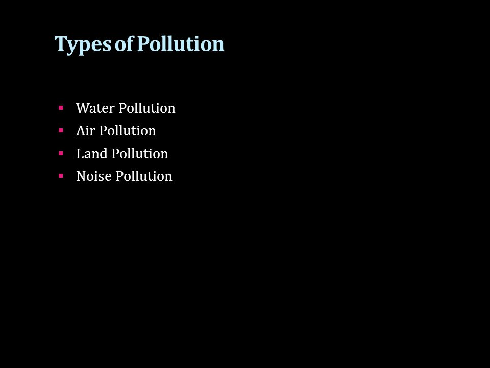 Types of Pollution  Water Pollution  Air Pollution  Land Pollution  Noise Pollution